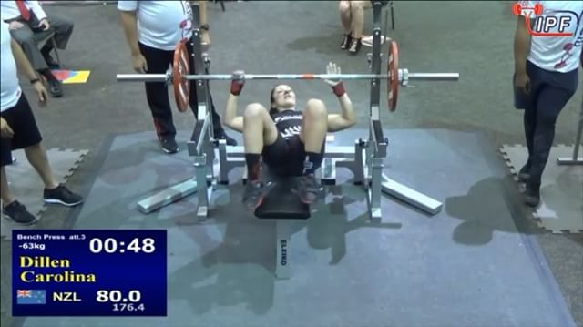 @carli_dillen bumps it up another 2.5kg for an 80kg 3rd but unfortunately gets stuck just off the chest. Regardless, 77.5kg is still an awesome bench @63kg!