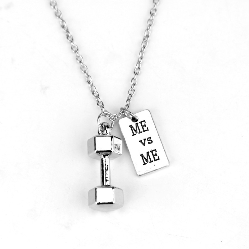 Me vrs Me Dumbbell Strength Jewelry and Necklace