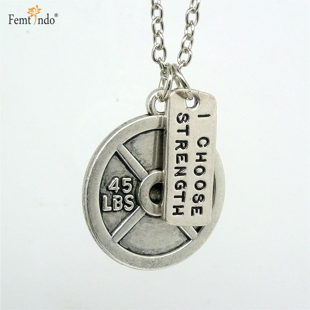I Choose Strength Antique Silver Plated Dumbbell and Plate Pendant and Chain