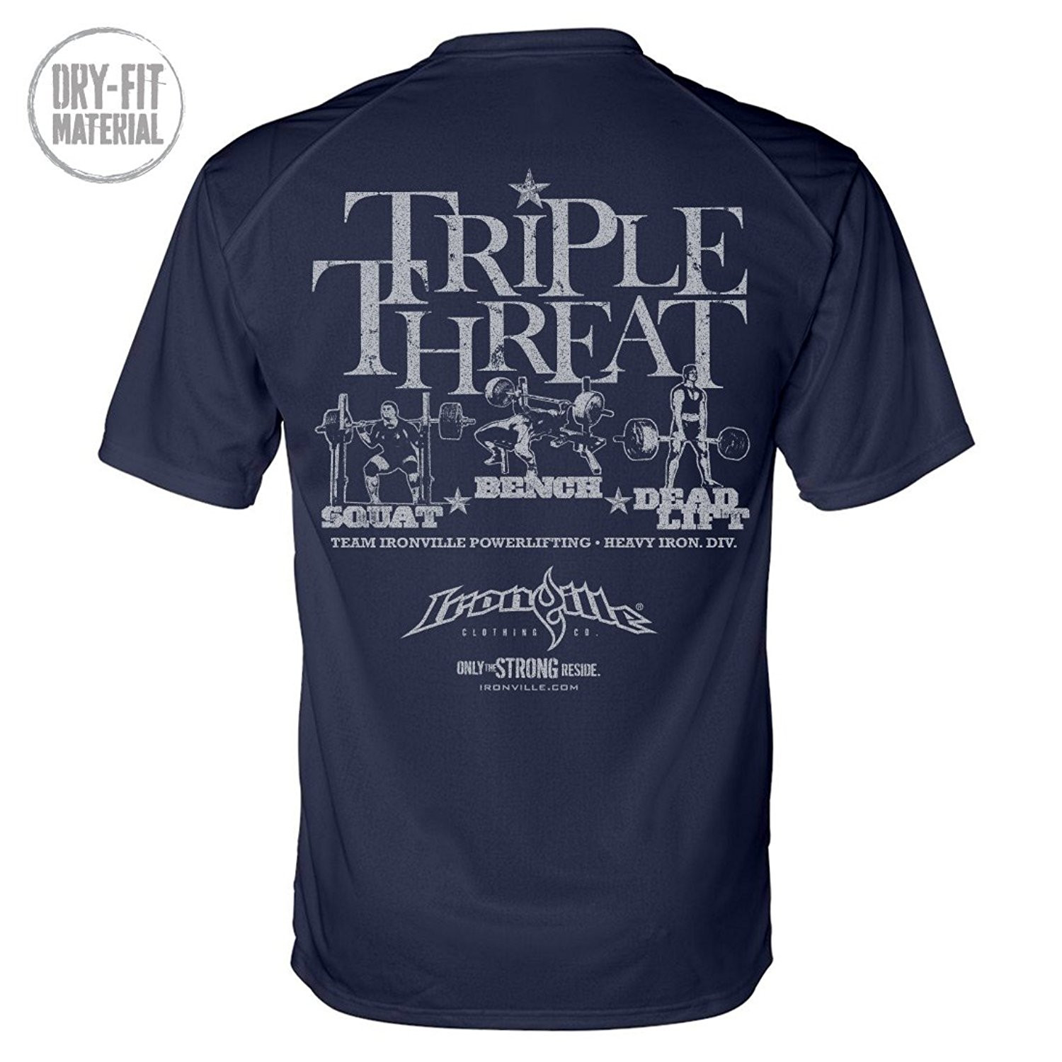 Triple Threat Squat Bench Deadlift Dri-Fit Powerlifting Shirt