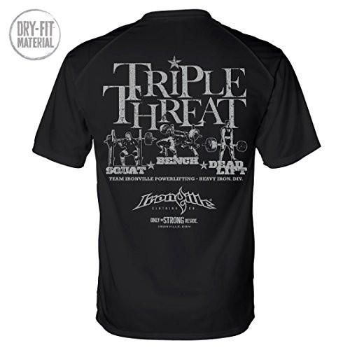 Triple Threat Squat Bench Deadlift Dri-Fit Powerlifting Shirt