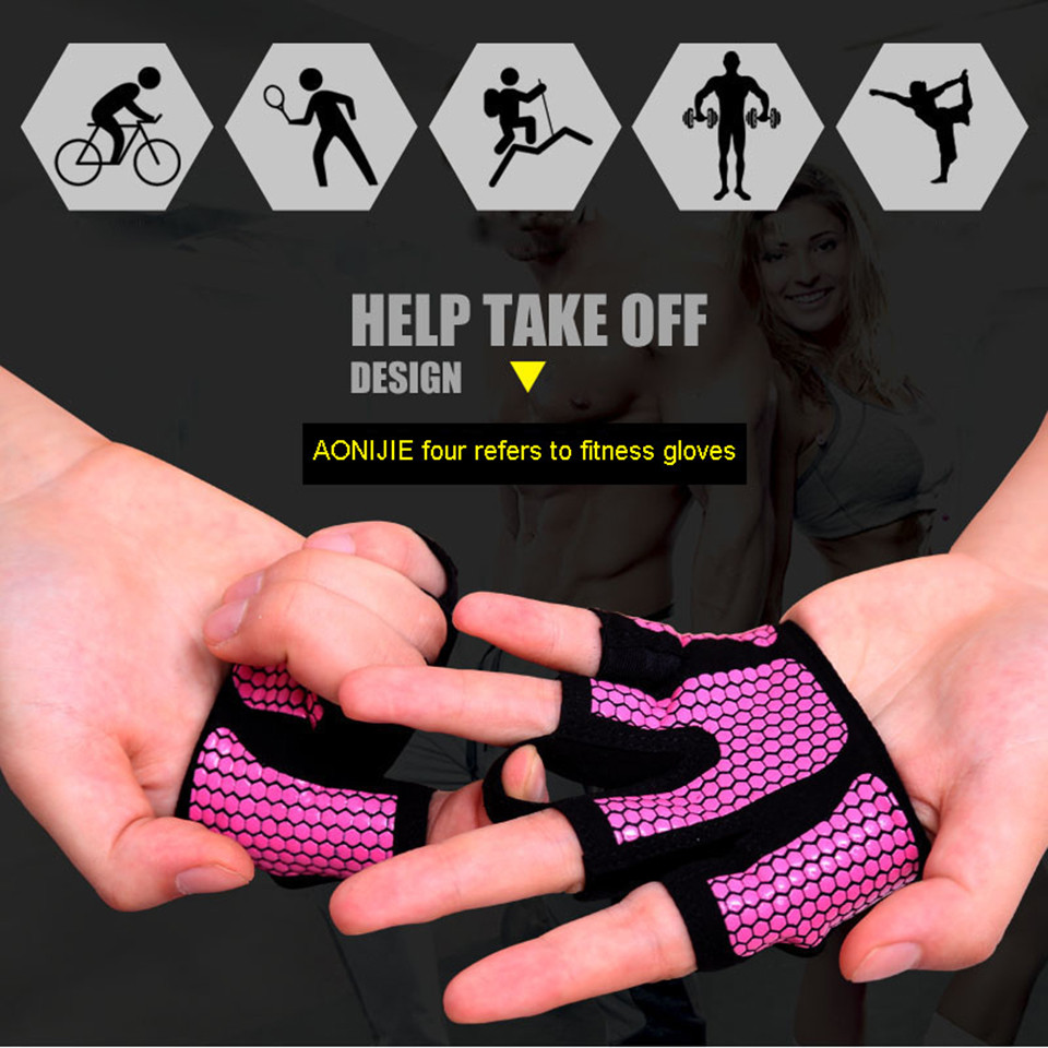 AOLIKES 1 Pair  Anti-skid Men & Women Gym Gloves Body Building Exercise Training Sports Fitness Gloves Crossfit A-111